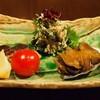 大根 - 料理写真:カマスの自家製燻製、とこぶしのふくめ煮、干しイチヂクとクレソンの白和え