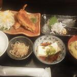 わか菜 - 日替わり定食750円(税込)のアジフライ