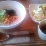 39996580 - ランチセット(シャケと水菜粥)(2015.6)