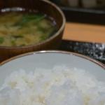 まきの - お替り自由のご飯とお味噌汁