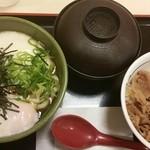 松屋 - 冷やしとろ玉うどんミニ牛めしセット590円