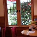 コメダ珈琲店 - 明かり取りからは緑が見えます!