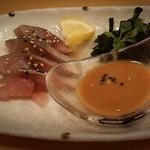 魚升 - まさばのごま鯖 680円(数枚食べた後です。すみません)