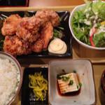 やまや - 鶏のから揚げの定食 ¥650-