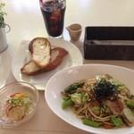 カフェ グリーンガーデン - 料理写真:和風パスタのセット+ドリンク 計1450円