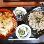 丸福 - 天とじ丼と小ざるそば(1210円)