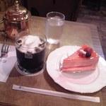 珈琲店トップ - ケーキセット (合計¥990) 全景♪w
