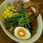 40065323 - 野菜もたっぷり、ラム肉もジンギスカン好きな自分に取ってちょうどいい。北海道のスープカレーとラム肉同時に味わえた!