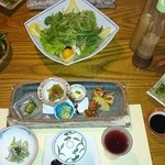お宿 野の花 - 季節の野菜サラダと前菜と馬刺し