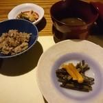 お宿 野の花 - 小田舞茸の炊き込み御飯と赤出汁