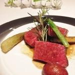 40079378 - 宮崎県 尾崎牛のランプのタリアータ マルサラソースと焼き野菜添え