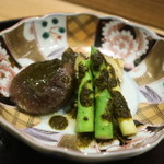 日本料理 太月 - 2015/7 あわびバター焼きアスパラときものソース