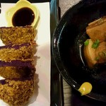 沖縄音楽酒場 世果報 - 紅芋コロッケと ラフテー
