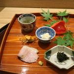 日本料理 太月 - 2015/7 鮎のうるか、わさびの葉、べっこう、さわがに揚げ他、八寸