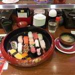 すし大臣 - 料理写真:得盛すしランチ にぎり15貫(みそ汁付)