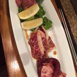 韓国焼肉 炙りな - お肉3点盛り合せ 1280円 タンさきっちょ、カルビ、ロース