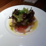 40099297 - 「鮮魚のカルパッチョ グレープフルーツとスプマンテのジュレ 香草サラダ添え」                       (¥1,800)