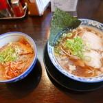 さくら食堂 - 尾道ラーメン(650円)、焼肉丼350円+
