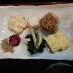 魚忠 - 天ぷら定食のだし巻き卵&里芋の煮物&蓮根金平&小松菜とおアゲの煮浸し&ヒロウス&山椒ジャコ&柴漬け