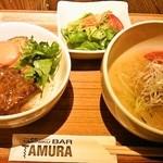 40111807 - ハーフ塩冷麺&ハーフ牛ロースステーキ丼1417円税別