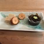 鮓ひろせ - 明太子などの3種前菜。