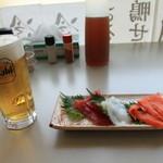 味よし - 料理写真:生+刺身3点盛り(マグロは既に食した後)