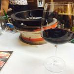 七輪とワイン