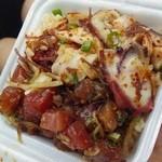 Ono Seafood - タコアヒ(ハワイアン)とマグロアヒ(醤油)のコンビネーションレギュラーサイズ