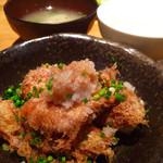 おさかなキッチン11月24日 - 日替わりランチ。白身魚の竜田揚げみぞれおろし。お味噌汁と白米、サラダと小鉢が付いて700円。大満足♡