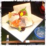秋田屋 - 定食のお造りは日によってネタが変わりますが大体6点盛りです。