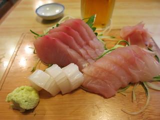 あそこ寿司 - 地魚刺身盛り合わせ ヒラマサ、ばしょうイカ、金目