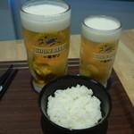 惣菜ばる おためし屋 - 料理写真:生ビール大ジョッキ&中ジョッキ&中ライス