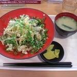 壇之浦パーキングエリア スナックコーナー - 思ったよりタレのポン酢が薄味だった「ふくぶっかけ丼」950円