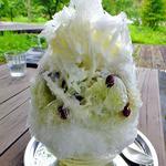 何時も庵 - 小豆と寒天+抹茶かき氷(練乳入り)(2015年7月)