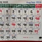 インド・ネパール料理 シャマーマハル - 古いカレンダー、各マスの右上太陽暦、中央チベット歴(日本の旧暦みたいなもの@店員)、下段大安とか友引みたいなもの@店員