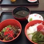 読谷村漁業協同組合 海人食堂 - 得とく丼1030円 ミニ海鮮丼、ミニもずく丼、いかすみ汁