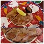 オステリア エ バール ラ ルーチェ - 極豚肩ロースのフライパン焼き 夏野菜のマリネ添え・・豚肉は普通に美味しいそうです。