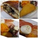 40217338 - 「ムール貝のグラタン」「生ハム」「モッツラレチーズ」「白いんげんと蛸のマリネ」「茄子の入った自家製ピッツア」                       丁寧に作られたお料理はどれも美味しいですね。生ハムも上質な品でした。