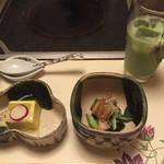 梅の花 - 料理写真:とうもろこし豆腐←(美味しい!)と、穴子の何やら