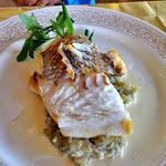 レストラン 樹葉亭 - 真鯛のポワレ ナスのデュクセル・エゴマ油風味添え(2015年7月)