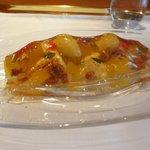 レストラン マノワ - デザート(アールグレイのジュレを纏ったパイナップルのコンポートとソルベ、ココナッツムースと共に)(2015.7)