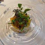 レストラン マノワ - 海老と焼きナスと生ハムのジュレ 紫蘇の香り(2015.7)