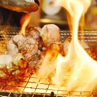 地鶏の炭火焼と炉ばた料理♪