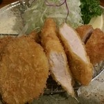 三是食堂 かつどころ - 本日のランチ<四種盛り:一口ヒレカツ・マグロカツ・野菜フライ・ササミカツ>(680円)