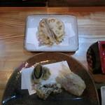 旬楽 ながた - 天ぷら。雲丹・カニ味噌・茗荷・レンコンはさみ揚げ。