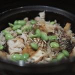 霞庭 まつばら - 鯛と空豆・厚揚げの炊き込みご飯
