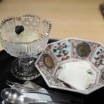 霞庭 まつばら - ブルーベリーと白桃 レモンゼリー掛け  白いコーヒームース