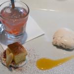 トラットリア チェーロ - スイカのゼリー、リンゴのタルト、アールグレイのパンナコッタ