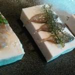 遊食酒蔵 味源 - 島豆腐の三点盛り スクガラスは定番ですね。