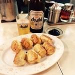 餃子会館 - ビールにホワイト餃子という幸せ!